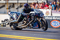 Mar 16, 2018; Gainesville, FL, USA; NHRA nitro top fuel Harley Davidson motorcycle rider Christopher Streeter during qualifying for the Gatornationals at Gainesville Raceway. Mandatory Credit: Mark J. Rebilas-USA TODAY Sports