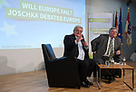"""Brussels - Belgium, December 10, 2014 -- """"Will Europe Fail? Joschka Debates Europe."""" a presentation of a book written (published) by and discussion with Joschka Fischer (le), the Green former Vice-Chancellor and Foreign Affairs Minister of Germany, organized by the European Green Party at the Representation of the State of Hessen to the EU ; here, with moderator Reinhard Bütikofer MEP (ri), Co-Chair of the European Green Party -- Photo: © HorstWagner.eu"""