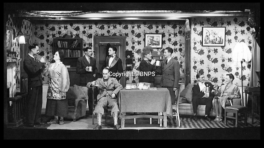 BNPS.co.uk (01202 558833)<br /> Picture: BNPS<br /> <br /> Prisoners perform some amateur dramatics, complete with scenery, costumes, makeup and props that they made themselves to ease their boredom.<br /> <br /> Oh What a Lovely War...The extraordinary level of professionalism a group of British soldiers put into their theatre productions at a PoW camp can be revealed in a newly-discovered archive.So serious were the am-dram group of Stalag 383 they created a banked earth floor in a barn to form a sloping auditorium that became known as the 'Ofladium'.The men bartered their Red Cross parcels with their German guards for materials and props and then spent weeks creating sets that wouldn't look out of place in a West End theatre.The sets, costumes, performances and concert programmes were of almost professional standards, with a great deal of time, effort and skill clearly going into creating them.