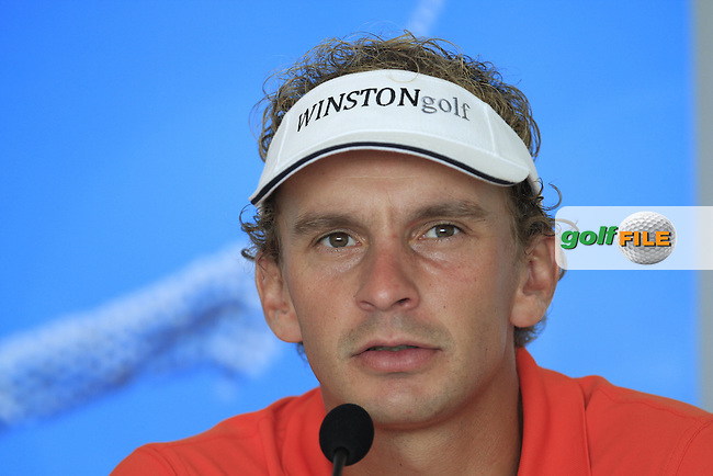 Joost Luiten (NED) during a press interview after Round 4 of the 2015 KLM Open at the Kennemer Golf &amp; Country Club in The Netherlands on 13/09/15.<br /> Picture: Thos Caffrey | Golffile