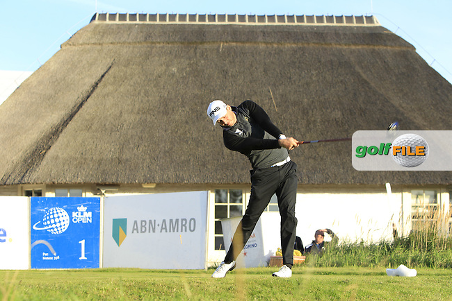 Matthew Nixon (ENG) on the 1st tee during Round 1 of the 2015 KLM Open at the Kennemer Golf &amp; Country Club in The Netherlands on 10/09/15.<br /> Picture: Thos Caffrey | Golffile