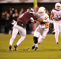NWA Media/Michael Woods --11/01/2014-- w @NWAMICHAELW... University of Arkansas  defender Brooks Ellis returns an interception in the 2nd quarter during Saturday nights game against Mississippi State at Davis Wade Stadium in Starkville, Mississippi.