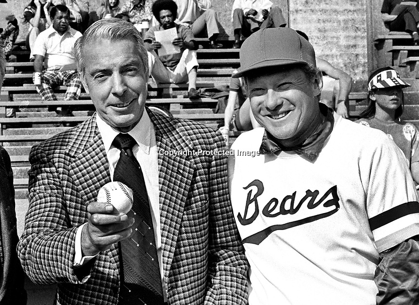 New York Yankee great Joe DiMiggio and University of California baseball coach and former Yankee Jackie Jensen. (1974 photo/Ron Riesterer)