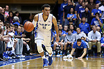 04 November 2014: Duke's Tyus Jones. The Duke University Blue Devils hosted the Livingstone College Blue Bears at Cameron Indoor Stadium in Durham, North Carolina in an NCAA Men's Basketball exhibition game. Duke won the game 115-58.
