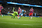 Sergio Aguero of Manchester City turns to celebrate his winning goal  - UEFA Champions League group E - Manchester City vs Bayern Munich - Etihad Stadium - Manchester - England - 25rd November 2014  - Picture Simon Bellis/Sportimage