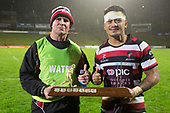 Grant Henson and Augustine Pulu with the Dan Bryant Memorial trophy. Mitre 10 Cup rugby game between Counties Manukau Steelers and Auckland played at ECOLight Stadium, Pukekohe on Saturday August 19th 2017. Counties Manukau Stelers won the game 16 - 14 and retain the Dan Bryant Memorial trophy.<br /> Photo by Richard Spranger.