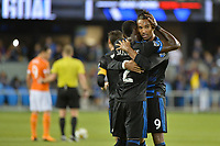 San Jose, CA - Saturday September 16, 2017: Danny Hoesen, Kofi Sarkodie during a Major League Soccer (MLS) match between the San Jose Earthquakes and the Houston Dynamo at Avaya Stadium.
