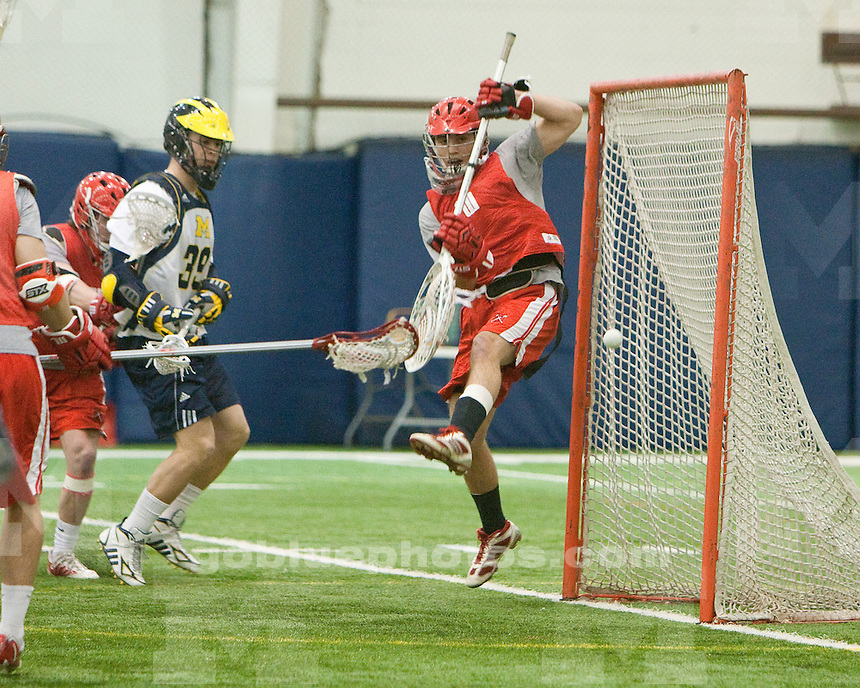 University of Michigan men's lacrosse scrimmage 13-8 victory over Wittenberg at Oosterbaan Fieldhouse in Ann Arbor, MI, on February 4, 2011.