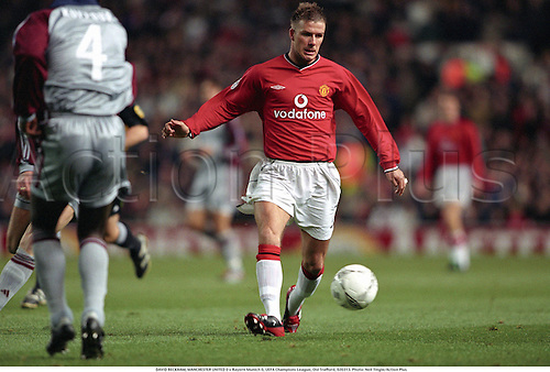 DAVID BECKHAM, MANCHESTER UNITED 0 v Bayern Munich 0, UEFA Champions League, Old Trafford, 020313. Photo: Neil Tingle/Action Plus...2002.association football.soccer.english club clubs.premiership premier