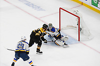 June 12, 2019: St. Louis Blues goaltender Jordan Binnington (50) stops a shot from St. Louis Blues center Ryan O'Reilly (90) during game 7 of the NHL Stanley Cup Finals between the St Louis Blues and the Boston Bruins held at TD Garden, in Boston, Mass.  The Saint Louis Blues defeat the Boston Bruins 4-1 in game 7 to win the 2019 Stanley Cup Championship.  Eric Canha/CSM.
