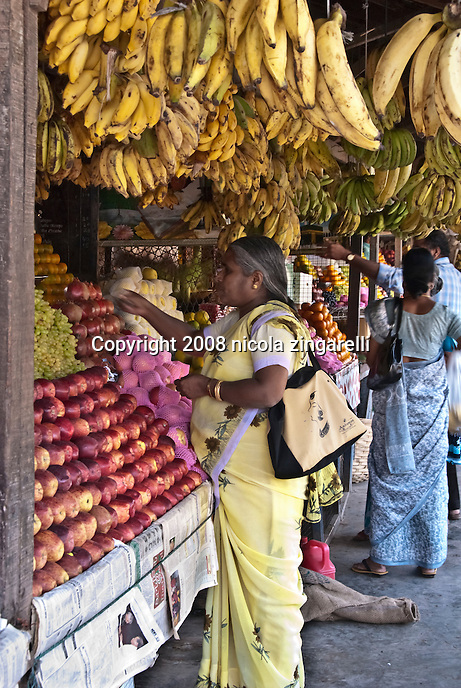 Port Blair, Andaman Islands. Indian woman in a local dress buying fruit and vegetables at the market
