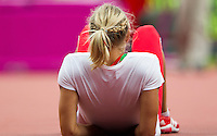 03 AUG 2012 - LONDON, GBR - Yana Maksimava (BLR) of Belarus waits for the start of the women's heptathlon high jump competition  during the London 2012 Olympic Games athletics at the Olympic Stadium in the Olympic Park in Stratford, London, Great Britain .(PHOTO (C) 2012 NIGEL FARROW)
