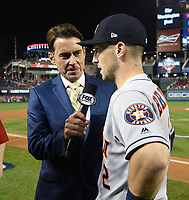 WASHINGTON DC - OCTOBER 26: Tom Verducci interviews Astros third baseman Alex Bregman following World Series Game 4: Houston Astros at Washington Nationals on Fox Sports at Nationals Park on October 26, 2019 in Washington, DC. (Photo by Frank Micelotta/Fox Sports/PictureGroup)