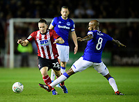 Lincoln City's Aaron Lewis vies for possession with Everton's Fabian Delph<br /> <br /> Photographer Chris Vaughan/CameraSport<br /> <br /> The Carabao Cup Second Round - Lincoln City v Everton - Wednesday 28th August 2019 - Sincil Bank - Lincoln<br />  <br /> World Copyright © 2019 CameraSport. All rights reserved. 43 Linden Ave. Countesthorpe. Leicester. England. LE8 5PG - Tel: +44 (0) 116 277 4147 - admin@camerasport.com - www.camerasport.com