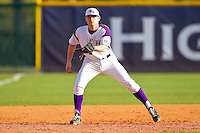 High Point Panthers third baseman Ryne Rush #5 on defense against the Manhattan Jaspers at Willard Stadium on March 9, 2012 in High Point, North Carolina.  The Panthers defeated the Jaspers 11-6.  (Brian Westerholt/Four Seam Images)