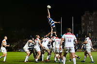 Elliott Stooke of Bath Rugby wins the ball at a lineout. Anglo-Welsh Cup match, between Bath Rugby and Leicester Tigers on November 10, 2017 at the Recreation Ground in Bath, England. Photo by: Patrick Khachfe / Onside Images