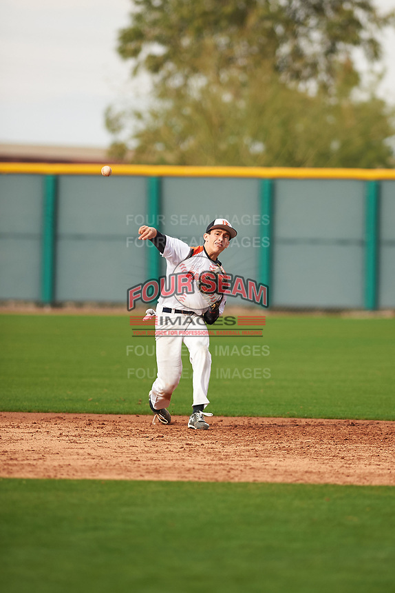 Andrew Kachel (2) of Christopher High School in Gilroy, California during the Under Armour All-American Pre-Season Tournament presented by Baseball Factory on January 14, 2017 at Sloan Park in Mesa, Arizona.  (Zac Lucy/MJP/Four Seam Images)