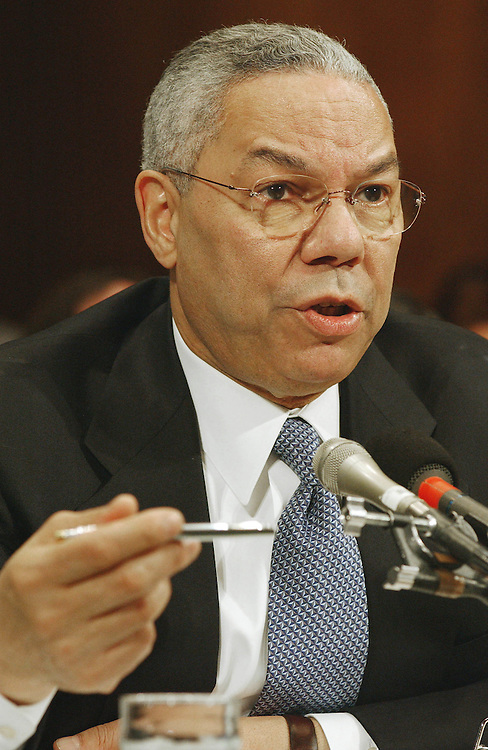 4/24/02.STATE DEPARTMENT APPROPRIATIONS--Secretary of State Colin L. Powell testifies during the Senate Appropriations Foreign Operations Subcommittee hearing on FY2003 appropriations for the State Department..CONGRESSIONAL QUARTERLY PHOTO BY SCOTT J. FERRELL