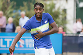 June 13th 2017, Nottingham, England; ATP Aegon Nottingham Open Tennis Tournament day 4;  Darian King of Barbados querying a call with the umpire in his match against Bjorn Fratangelo of USA