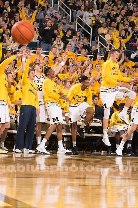 The University of Michigan men's basketball team beats Purdue, 61-56, at Crisler Arena in Ann Arbor on Feb. 13, 2016.
