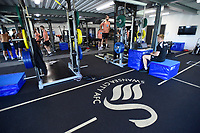 Players exercise in the gym during the Swansea City Players Return to Pre-Season Training at The Fairwood Training Ground, Wales, UK. Monday 02 July 2018