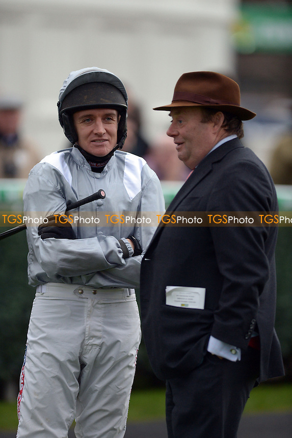Jockey Barry Garaghty with Nicky Henderson - Horse Racing at Newbury Racecourse, Newbury, Berkshire 29/11/2013 - MANDATORY CREDIT: Martin Dalton/TGSPHOTO - Self billing applies where appropriate - 0845 094 6026 - contact@tgsphoto.co.uk - NO UNPAID USE