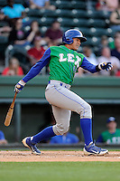 First baseman Samir Duenez (16) of the Lexington Legends bats in a game against the Greenville Drive on Thursday, April 24, 2014, at Fluor Field at the West End in Greenville, South Carolina. Duenez is the No. 19 prospect of the KansasCity Royals, according to Baseball America. Greenville won, 9-4. (Tom Priddy/Four Seam Images)