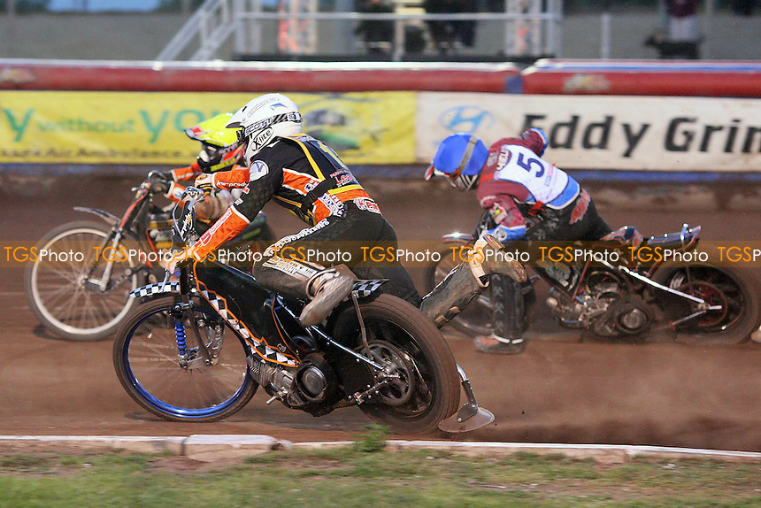 Heat 13: F Lindgren (white), Woffinden (yellow) and Shields crash out - Lakeside Hammers vs Wolverhampton Wolves - Sky Sports Elite League Speedway at Arena Essex Raceway, Purfleet - 24/05/10 - MANDATORY CREDIT: Gavin Ellis/TGSPHOTO - Self billing applies where appropriate - Tel: 0845 094 6026