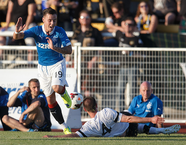 Barrie McKay jumps the tackle from Wes Barrett