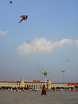 Beijing, Forbidden City, Great Wall, Monk, Kite, Tiananmen Square, Summer Palace, Sky, flags, China
