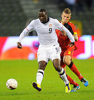 USA's Jozy Altidore (l) and Belgium's Toby Alderweireld fight for the ball during the friendly match Belgium vs USA at King Baudoin stadium in Brussels, Belgium on September 06th, 2011.