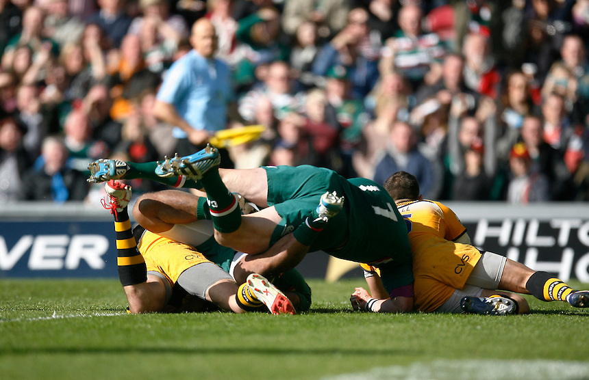 Leicester Tigers' Manusamoa Tuilagi  (Hidden L) scores a try<br /> <br /> Photo by Jack Phillips/CameraSport<br /> <br /> Rugby Union - Aviva Premiership - Leicester Tigers v London Wasps - Saturday 12th April 2014 - Welford Road - Leicester<br /> <br /> &copy; CameraSport - 43 Linden Ave. Countesthorpe. Leicester. England. LE8 5PG - Tel: +44 (0) 116 277 4147 - admin@camerasport.com - www.camerasport.com