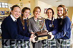Presentation Secondary School, Tralee students, Katie Ahern, Cara Segal, Lauren Foley and Muireann McLoughlin, pictured with their German teacher Marion Cronin, on Friday morning last, as they won the 19th Irish Austrian Society Essay Competition for 3rd 4th and 5th years, this was won for the first time in school and the trophy is entitled the 'Catriona Dowling Perpetual Memorial Trophy'.