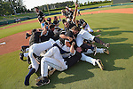 4 JUNE 2016:  Nova Southeastern University players celebrate after defeating Millersville University to win  the Division II Men's Baseball Championship held at the USA Baseball National Training Complex in Cary, NC.  Nova Southeastern University defeated Millersville University 8-6 to win the national title.  Grant Halverson/NCAA Photos