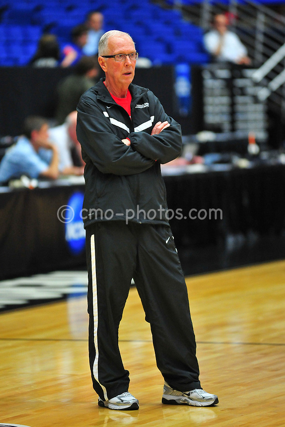 Mar 16, 2011; Tucson, AZ, USA; San Diego State Aztecs head coach Steve Fisher watches his team practice the day before the second round of the 2011 NCAA men's basketball tournament at the McKale Center.