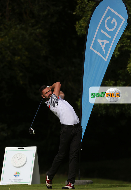 Mark Morrisey (Co.Sligo) on the 1st tee during the final of the AIG Senior Cup at Carton House.17/9/16<br /> Picture: Golffile | Jenny Matthews<br /> <br /> <br /> All photo usage must carry mandatory copyright credit (&copy; Golffile | Jenny Matthews)