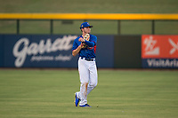 AZL Cubs 2 center fielder Cole Roederer (34) warms up between innings of an Arizona League game against the AZL Rangers at Sloan Park on July 7, 2018 in Mesa, Arizona. AZL Rangers defeated AZL Cubs 2 11-2. (Zachary Lucy/Four Seam Images)