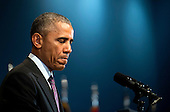 United States President Barack Obama speaks at a ceremony marking the 10th anniversary of the formation for the Office of the Director of National Intelligence, at its headquarters on April 24, 2015 in McLean, Virginia. <br /> Credit: Kevin Dietsch / Pool via CNP