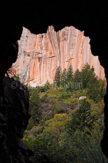 View of the Coconino Sandstone from inside the Supai Tunnel on the North Kaibab Trail in Grand Canyon