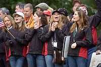 Ryder Cup K Club Straffin Co Kildare.. Ryder Cup fans on the edge of the 16th green during the morning fourball session of the second day of the 2006 Ryder Cup at the K Club in Straffan, County Kildare, in the Republic of Ireland, 23 September, 2006..Photo: Barry Cronin/ Newsfile.
