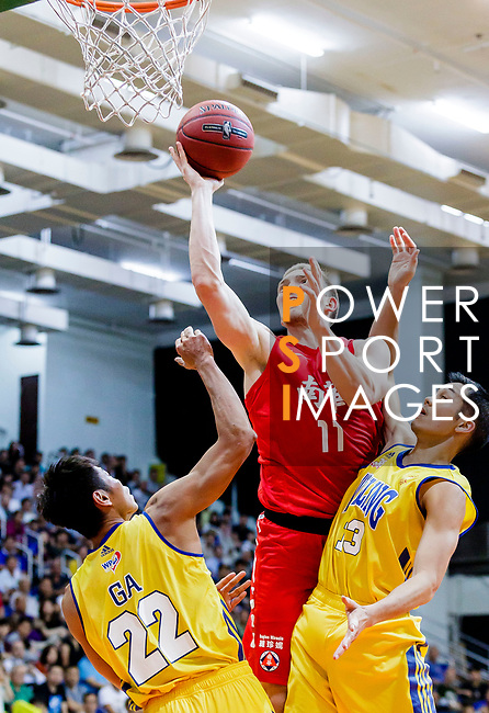Dominic Robert Gilbert #11 of SCAA Men's Basketball Team goes to the basket against the Winling during the Hong Kong Basketball League game between SCAA vs Winling at Southorn Stadium on June 19, 2018 in Hong Kong. Photo by Yu Chun Christopher Wong / Power Sport Images