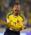 Colombia's Fredy Guarin celebrates after scoring against Venezuela during a 2014 World Cup qualifying soccer match in Barranquilla, Colombia, Friday, Nov. 11, 2011. (AP Photo/Ricardo Mazalan)