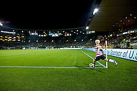 Megan Rapinoe takes a corner kick. USWNT won 5-0 in a friendly against Ireland at JELD-WEN Field in Portland, Oregon on November 28, 2012.