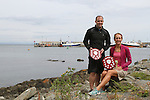 """Mark Watters (3D Tri) from Dublin who won 1st place and Trudy Brown (Real Triathlon) from Belfast who won Ladies 1st place at the 2.5km """"Round the Head Swim""""  in Clogherhead, Co.Louth.....(Photo credit should read Jenny Matthews/NEWSFILE)....This Picture has been sent you under the condtions enclosed by:.Newsfile Ltd..The Studio,.Millmount Abbey,.Drogheda,.Co Meath..Ireland..Tel: +353(0)41-9871240.Fax: +353(0)41-9871260.GSM: +353(0)86-2500958.email: pictures@newsfile.ie.www.newsfile.ie.FTP: 193.120.102.198."""