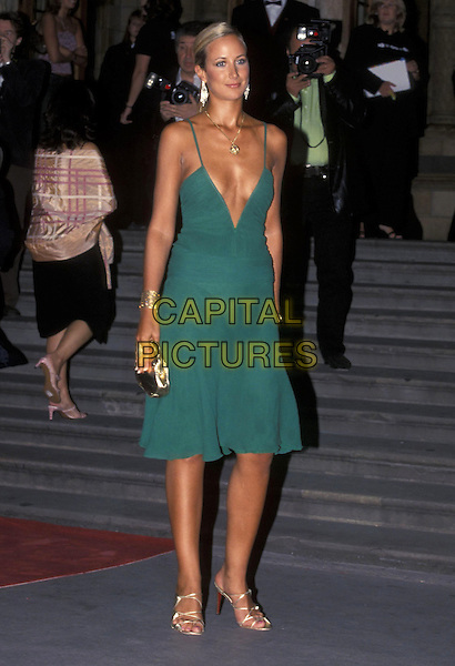 LADY VICTORIA HERVEY.04 September 2001.full length green dress plunging neckline tanned brown gold jewellery bag strappy shoes.ref:11033.www.capitalpictures.com.sales@capitalpictures.com.©Capital Pictures