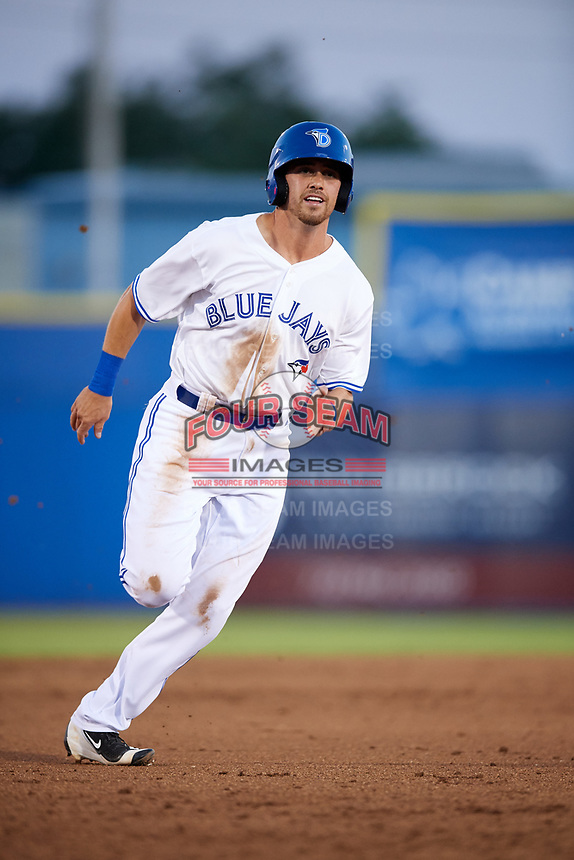 Dunedin Blue Jays third baseman Nash Knight (35) runs the bases during a game against the Fort Myers Miracle on April 17, 2018 at Dunedin Stadium in Dunedin, Florida.  Dunedin defeated Fort Myers 5-2.  (Mike Janes/Four Seam Images)