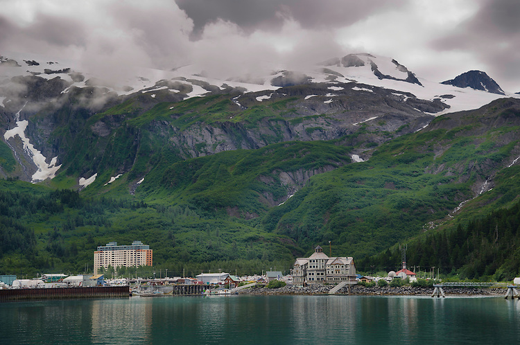 July 17 thru 23 / Alaska / Vacation and stock photography / Whittier Alaska looking across harbor toward Whittier Glacier / Photo by Bob Laramie