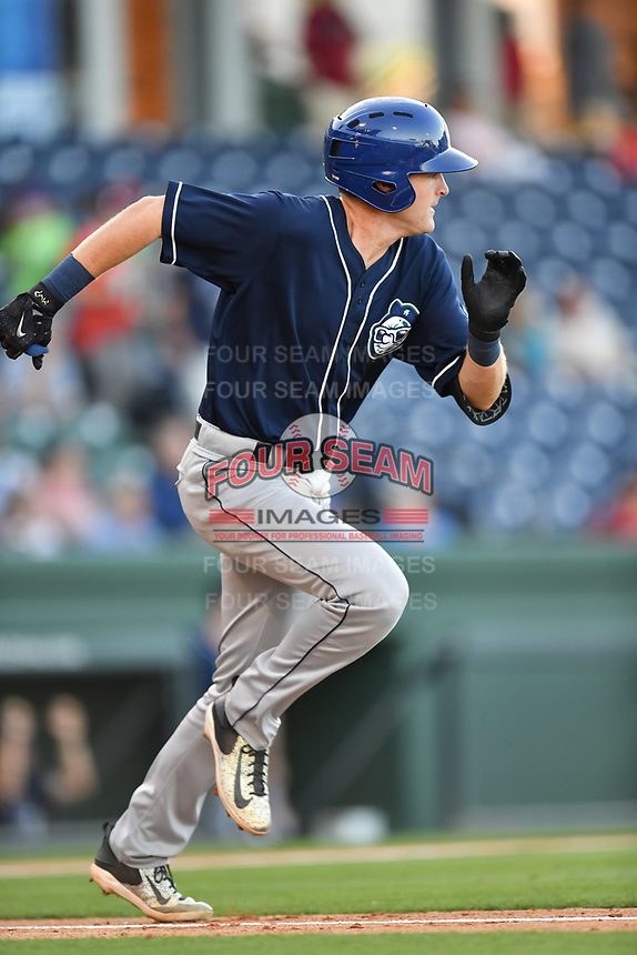 Designated hitter Tyler Nevin (23) of the Asheville Tourists in a game against the Greenville Drive on Tuesday, May 2, 2017, at Fluor Field at the West End in Greenville, South Carolina. Asheville won, 7-1. (Tom Priddy/Four Seam Images)