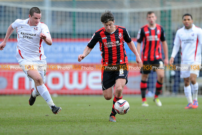 Harry Arter of AFC Bournemouth runs the ball out of defence - AFC Bournemouth vs Scunthorpe United - NPower League One Football at the Goldsands Stadium, Dean Court - 01/04/13 - MANDATORY CREDIT: Denis Murphy/TGSPHOTO - Self billing applies where appropriate - 0845 094 6026 - contact@tgsphoto.co.uk - NO UNPAID USE.