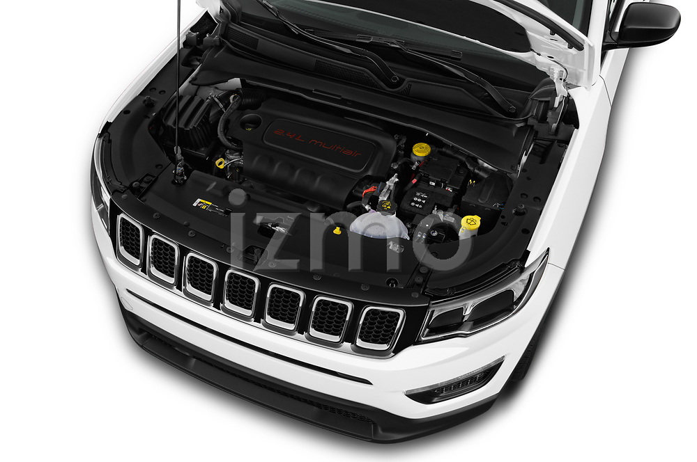 Car stock 2017 Jeep Compass Sport 2wd 5 Door SUV engine high angle detail view